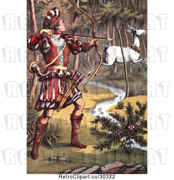 Clip Art of Retro Warrior Hunting a White Fawn