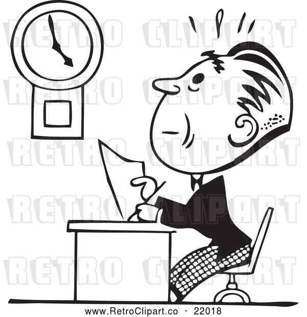 Clipart of a Retro Businessman Trying to Finish His Work on Time Before Deadline