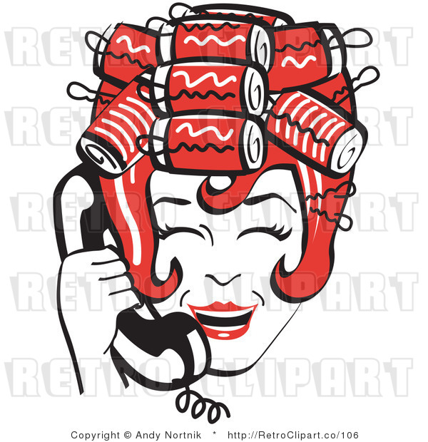 Royalty Free Vector Retro Clip Art of a 1950's Housewife Laughing with Hair Curlers While Talking on a Landline Telephone