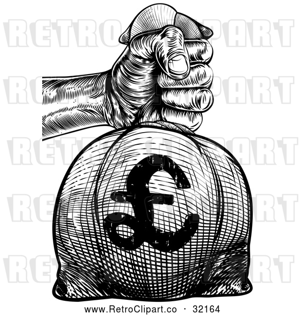 Vector Clip Art of a Confident Retro Human Hand Gripping a Heavy Burlap Bag Full of Euros