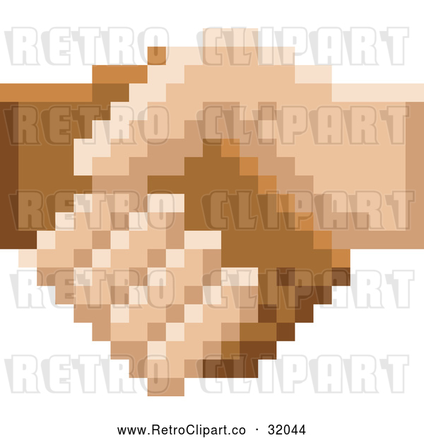 Vector Clip Art of a Retro 8 Bit Pixel Art Styled Hands Shaking
