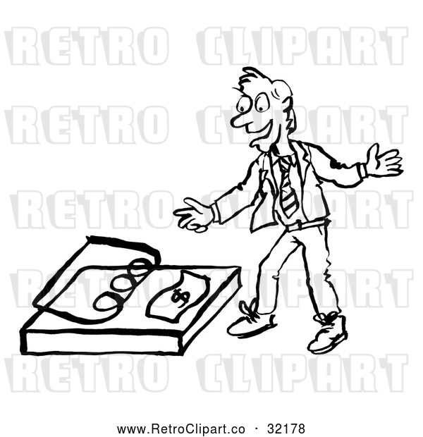 Vector Clip Art of a Smiling Retro Business Man Reaching for Money Bait Trap in Black and White