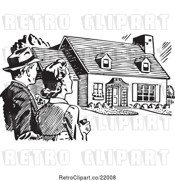 Vector Clip Art of Couple Gazing at a House