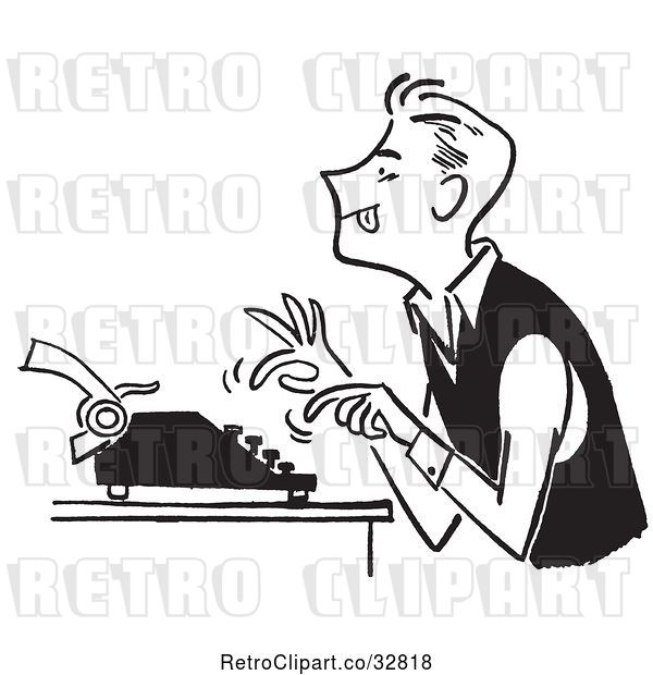 Vector Clip Art of Guy Using a Typewriter