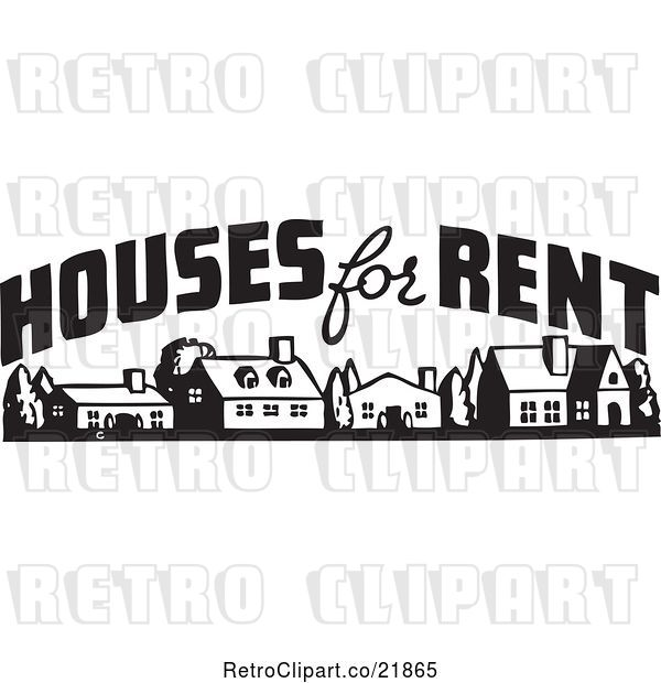 Vector Clip Art of Houses for Rent Sign