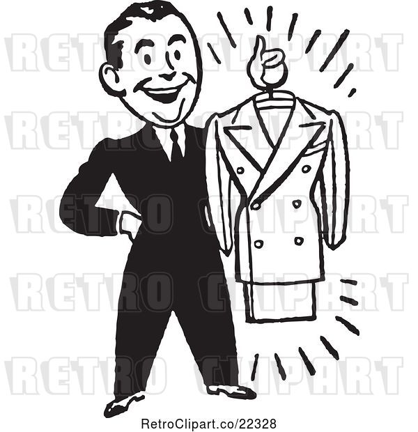 Vector Clip Art of Male Personal Shopper Holding a Business Dress Suit
