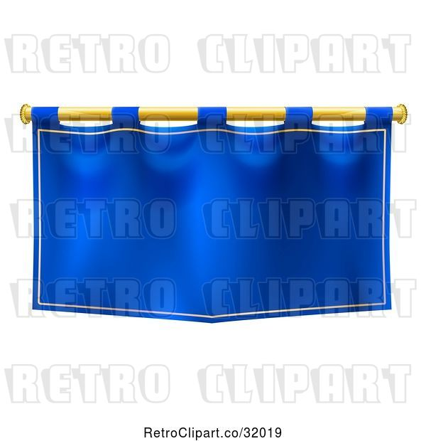Vector Clip Art of Medieval Royal Blue Banner Falg on a Gold Rod