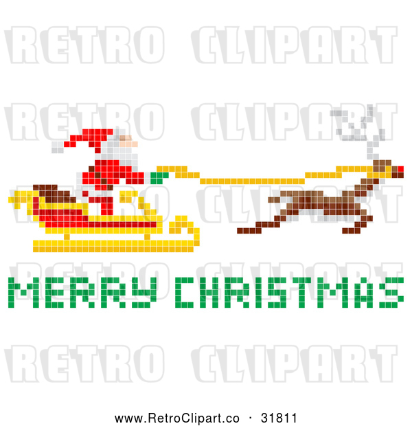 Vector Clip Art of Pixelated Retro Santa Claus Flying Sleigh with Merry Christmas Reindeer