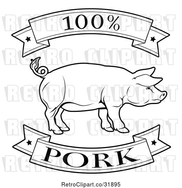 Vector Clip Art of Retro 100 Percent Pork Food Banners and Pig