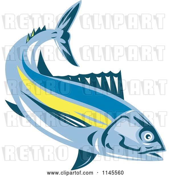 Vector Clip Art of Retro Albacore Tuna Fish