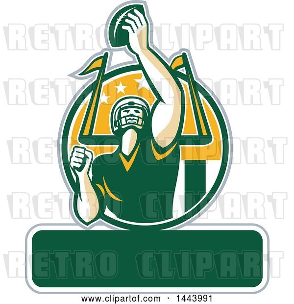Vector Clip Art of Retro American Football Player Holding up a Ball with Text Space for Super Bowl LI in a Green White and Yellow Circle
