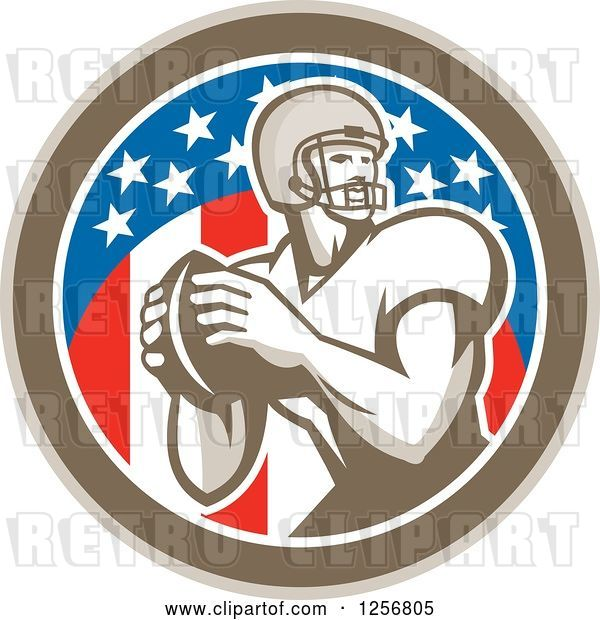 Vector Clip Art of Retro American Football Player Throwing in a Flag Circle