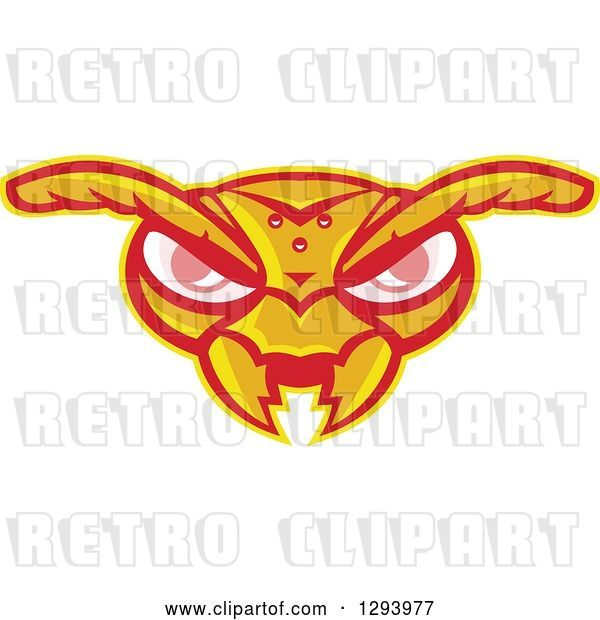 Vector Clip Art of Retro Angry Hornet Face