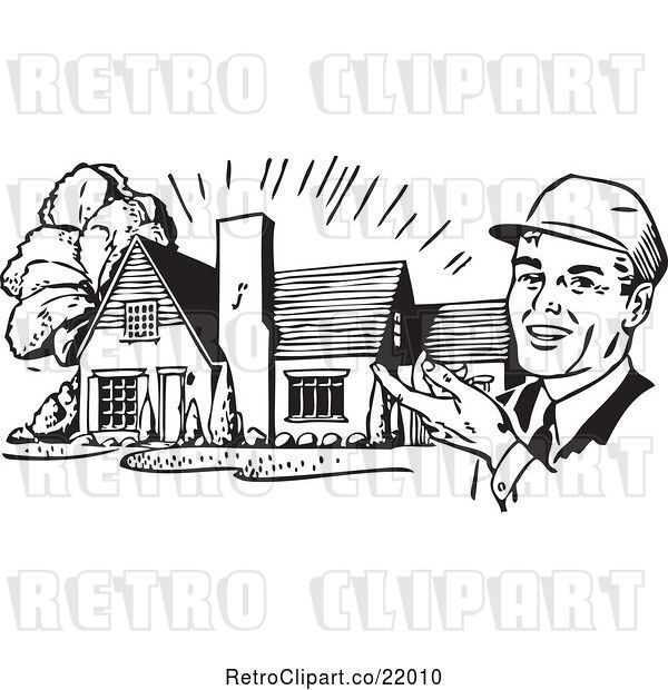 Vector Clip Art of Retro Architect Presenting a House
