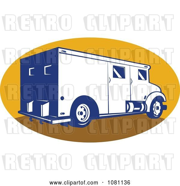 Vector Clip Art of Retro Armored Bank Van on a Yellow Oval