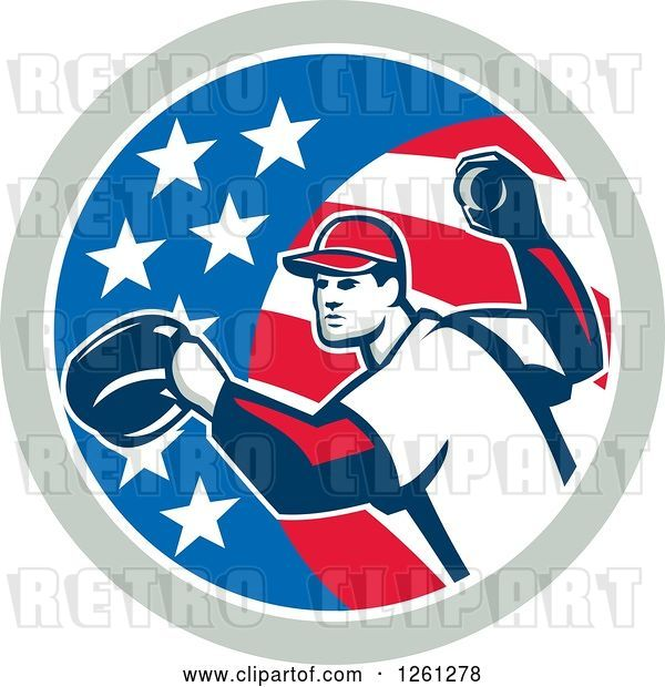 Vector Clip Art of Retro Baseball Pitcher Throwing in an American Flag Circle