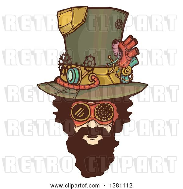 Vector Clip Art of Retro Bearded White Steampunk Mans Face Wearing a Top Hat