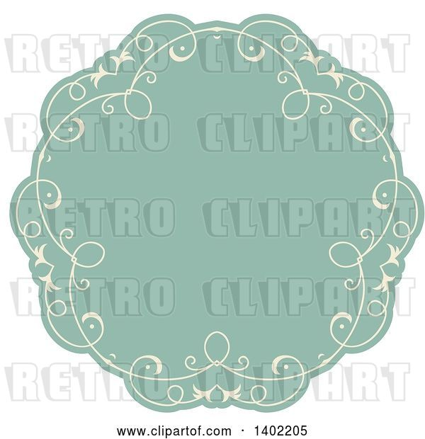 Vector Clip Art of Retro Beige and Turquoise Fancy Round Label Design Element