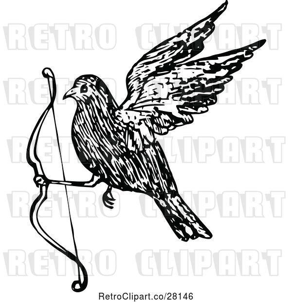 Vector Clip Art of Retro Bird Flying with a Bow