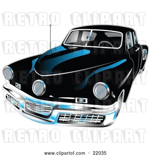 Vector Clip Art of Retro Black 1948 Tucker Car with a Chrome Bumper and Details