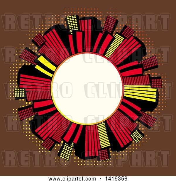 Vector Clip Art of Retro Blank White Round Frame Encircled with Red Black and Yellow Skyscrapers over Brown with Dots