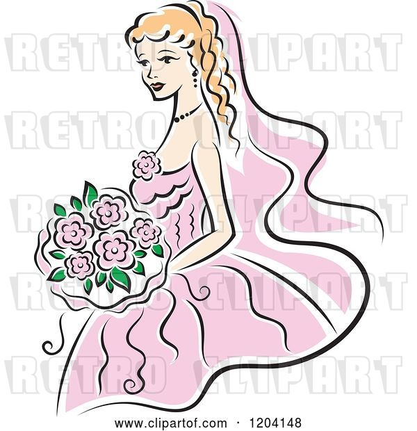 Vector Clip Art of Retro Blond Bride in a Pink Dress