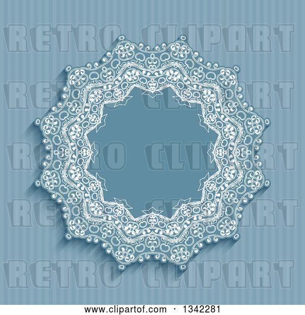 Vector Clip Art of Retro Blue Stripe and Doily Frame Background