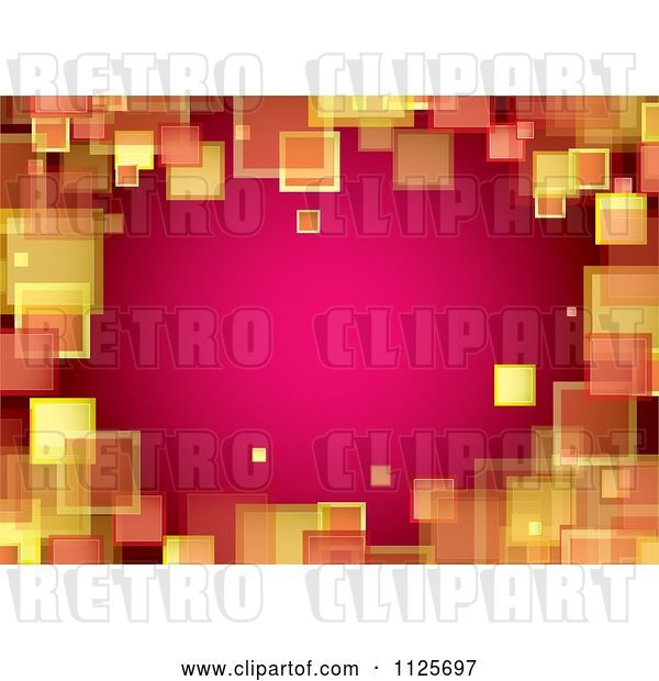 Vector Clip Art of Retro Border Background of Orange and Yellow Squares on Pink