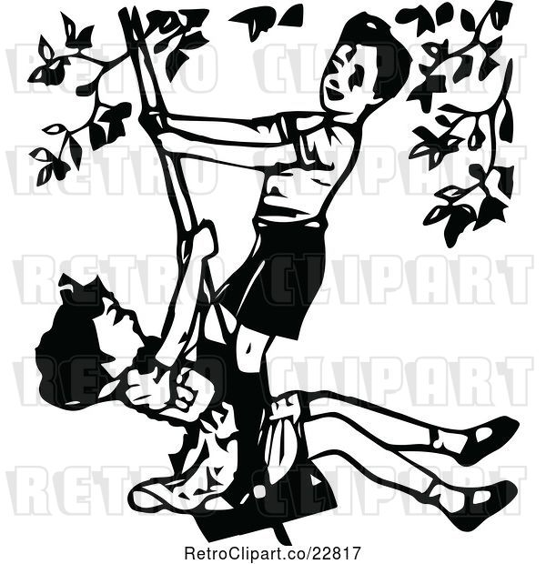 Vector Clip Art of Retro Boy and Girl Playing on a Swing