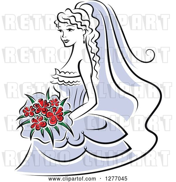 Vector Clip Art of Retro Bride in a Periwinkle Dress, with Red Flowers