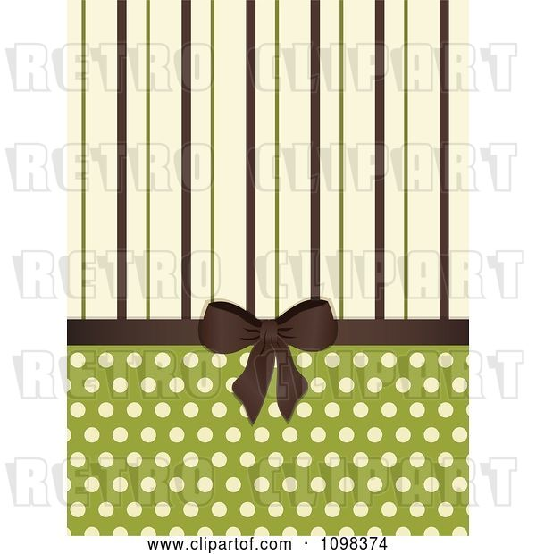 Vector Clip Art of Retro Brown Bow with Brown Green and Beige Stripes and Polka Dots on Green