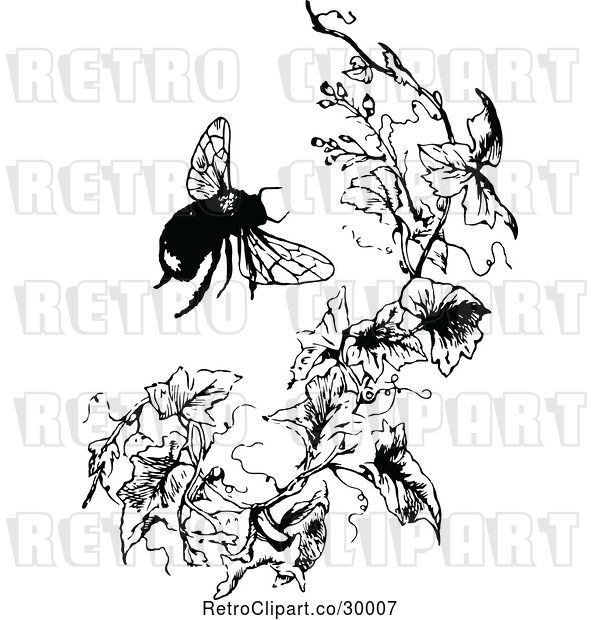 Vector Clip Art of Retro Bumble Bee and Branch