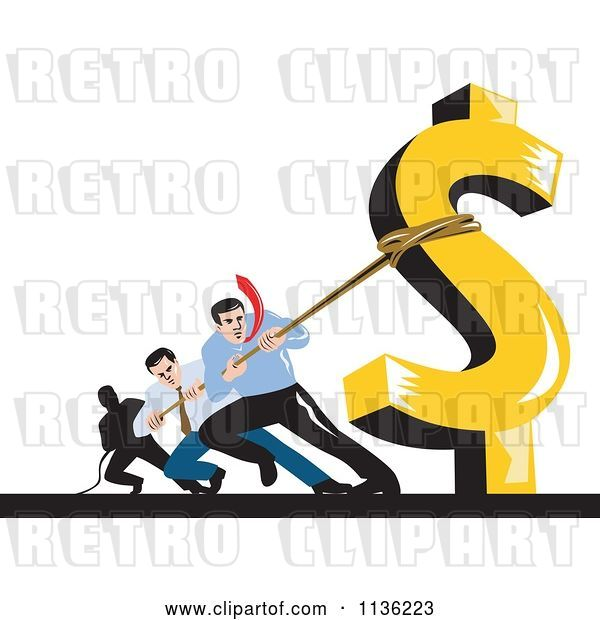 Vector Clip Art of Retro Business Man Pulling Against a Dollar Symbol