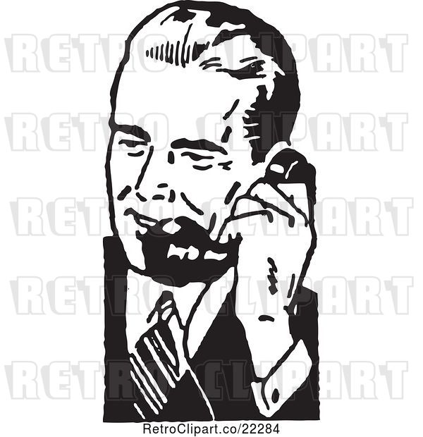 Vector Clip Art of Retro Business Man Using a Phone - 5