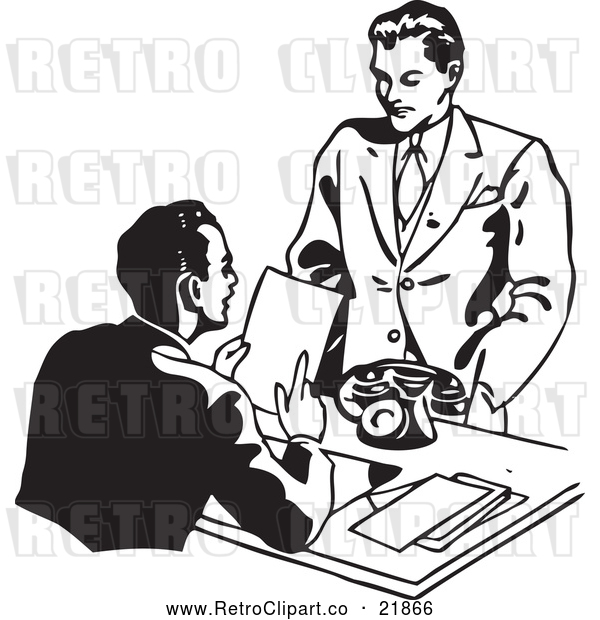 Vector Clip Art of Retro Businessman Discussing a Resume with an Applicant