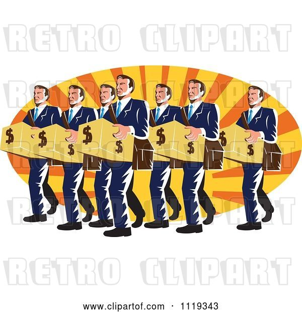 Vector Clip Art of Retro Businsesmen Bankers Carrying Dollar Boxes over Rays