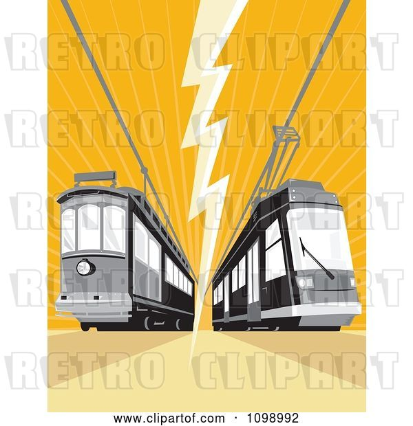 Vector Clip Art of Retro Cable Street Car Trams with an Electrical Bolt on Orange