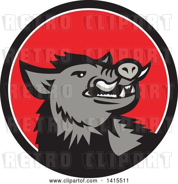 Vector Clip Art of Retro Cartoon Angry Gray Boar in a Black White and Red Circle
