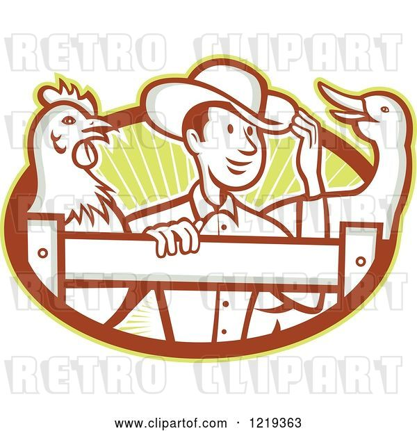 Vector Clip Art of Retro Cartoon Farmer with a Goose and Rooster at a Fence over Rays