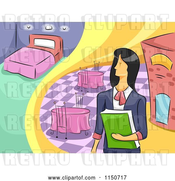 Vector Clip Art of Retro Cartoon Female Hotel and Restaurant Manager