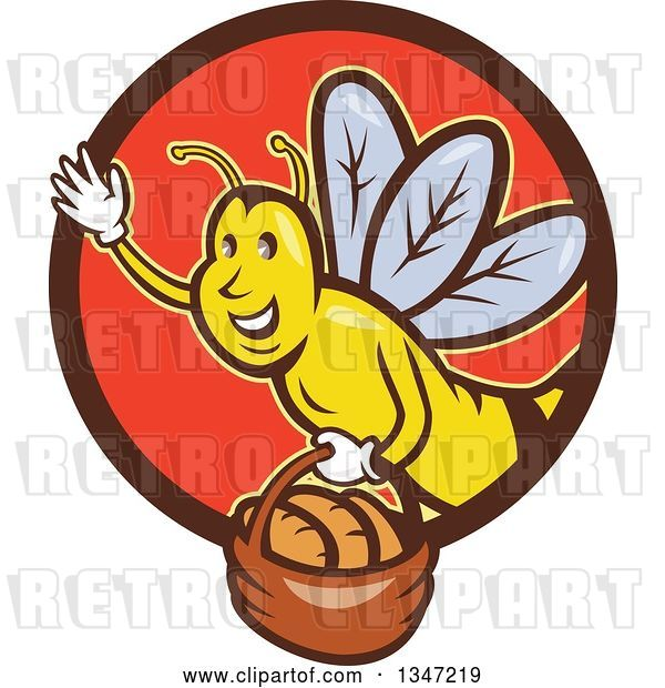 Vector Clip Art of Retro Cartoon Friendly Bee Flying with a Bread Basket in a Brown and Red Circle