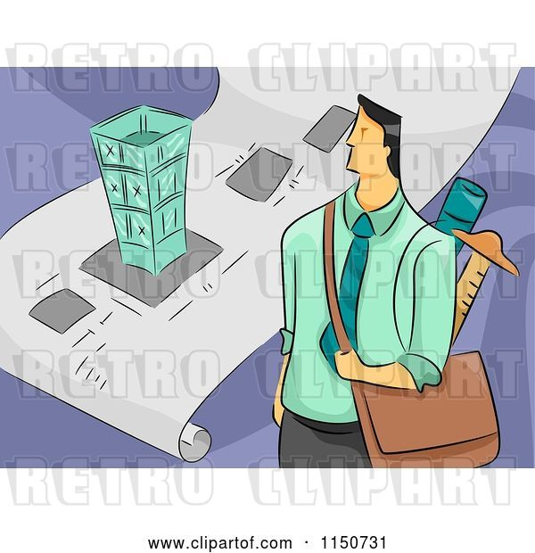Vector Clip Art of Retro Cartoon Male Architect with a Bag and Blueprints