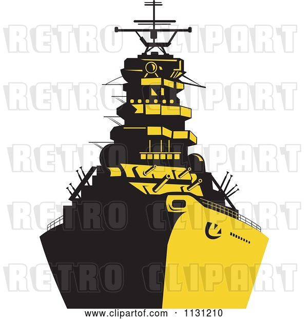 Vector Clip Art of Retro Cartoon Military Battleship in Yellow and Black