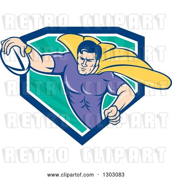 Vector Clip Art of Retro Cartoon Super Hero Flying with a Rugby Ball and Emerging from a Blue White and Turquoise Ray Shield