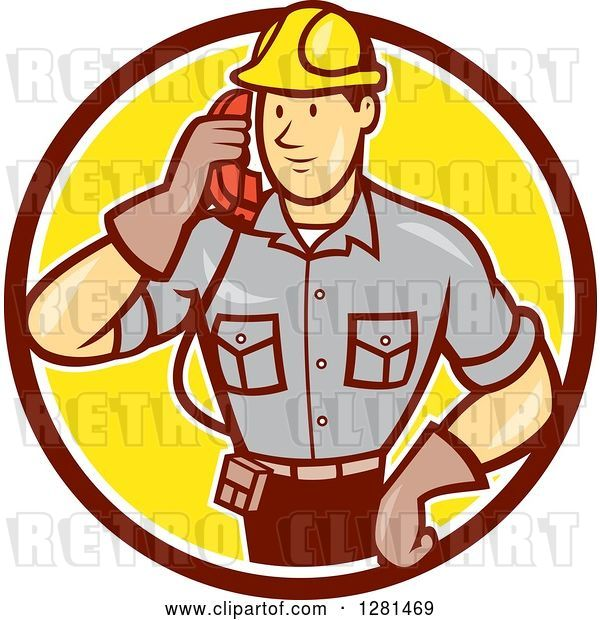 Vector Clip Art of Retro Cartoon Telephone Repair Guy Listening to a Receiver in a Brown White and Yellow Circle