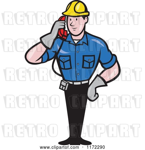 Vector Clip Art of Retro Cartoon Telephone Service Repair Guy Holding a Receiver