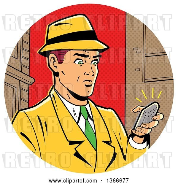 Vector Clip Art of Retro Cartoon White Guy in a Fedora Hat and Yellow Suit, Holding a Ringing Smart Phone