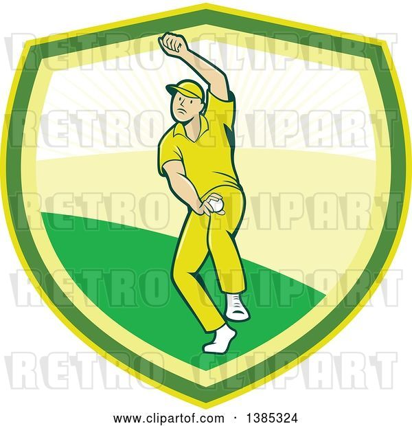 Vector Clip Art of Retro Cartoon White Male Cricket Player Fast Bowling in a Shield