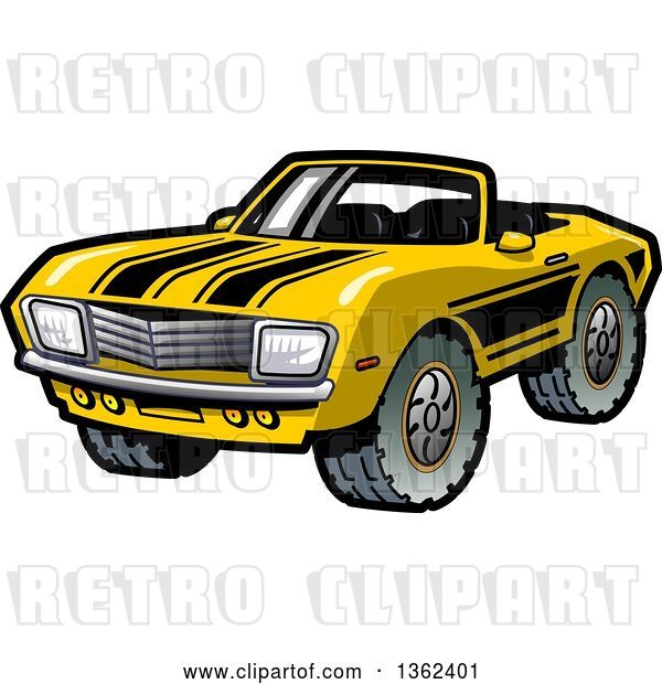 Vector Clip Art of Retro Cartoon Yellow Convertible Muscle Car with Black Racing Stripes and Mud Tires