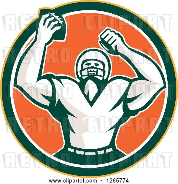 Vector Clip Art of Retro Cheering American Football Player in a Yellow Green White and Orange Circle